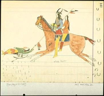 Navaho Fight Comanche and Kiowa Heap Big Fight, 1875 Drawing by Koba, exile at Fort Marion